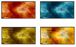 Four compass rose cards Stock Image