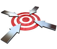Four Competing Arrows Point at Bulls-Eye Target. Four opposing arrows approach a bullseye target from 4 different directions in competition to be first to be Royalty Free Stock Images
