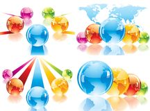 Four composition with globes and world map Royalty Free Stock Photography