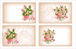 Four compositions of roses. Four compositions with bouquets of pink bushes of roses Stock Photography