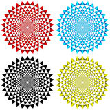 Four Concentric Circular Patterns. In various colors as a background Stock Photos