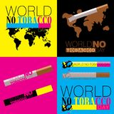 Four concepts against tobacco usage in CMYK colors. With the text World No Tobacco Day Royalty Free Stock Photos