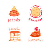 Four concepts of pancake logotypes Royalty Free Stock Photography
