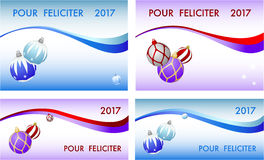 Four congratulation card to Christmas and New Year. A5 and DL formats. PF - Pour Feliciter mean Best Wishes Stock Images