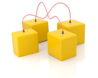 Four connected boxes Royalty Free Stock Image