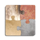 Four connected puzzle pieces of different material. 3d rendering  of puzzle set made of stone, paperboard and granite pieces Stock Photo