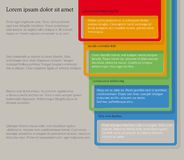 Four consecutive frame elements with lots of room for text and descriptions. Infographics. Four consecutive frame elements of different colors with lots of room Royalty Free Stock Photography