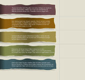 Four consecutive torn paper with lots of room for text and descriptions. Stock Photo