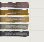 Four consecutive torn paper with lots of room for text and descriptions. Royalty Free Stock Images