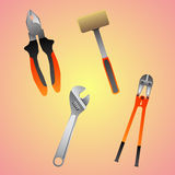 Four construction instruments Stock Photography