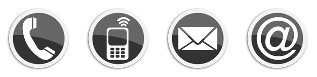 Four contacting sticker symbols in black - buttons Royalty Free Stock Images