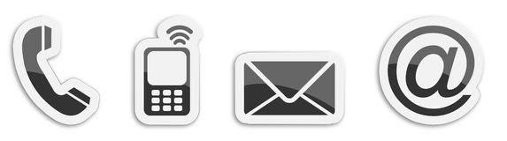 Four contacting sticker symbols in black Stock Photography