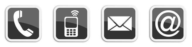 Four contacting sticker symbols in black - cube Stock Photos