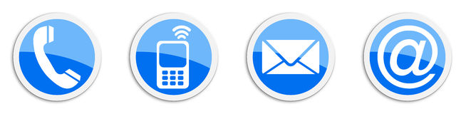 Four contacting sticker symbols in blue - buttons Stock Images