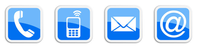 Four contacting sticker symbols in blue - cube Royalty Free Stock Photography