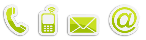 Four contacting sticker symbols in green Royalty Free Stock Photography