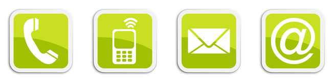 Four contacting sticker symbols in green - cube Stock Photo