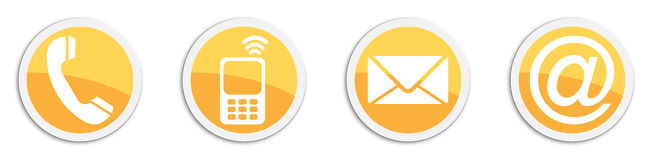 Four contacting sticker symbols in orange - buttons Stock Photography