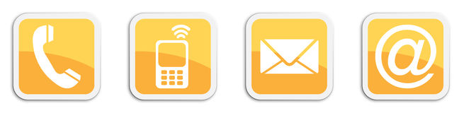 Four contacting sticker symbols in orange - cube Royalty Free Stock Image