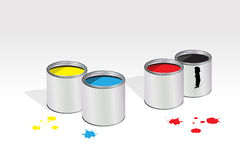 Four containers of paint Royalty Free Stock Photo