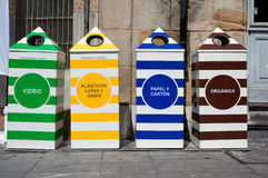 Four containers for recycling Stock Images
