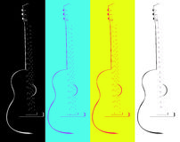 Four contours of a guitar Royalty Free Stock Photo