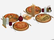 Four cooked pizzas for dinner Stock Photo