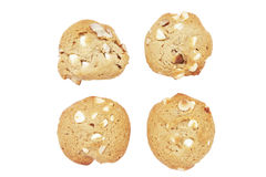 Four Cookie Biscuits With White Chocolate And Nuts. Four Cookie Biscuits With White Chocolate And Macadamia Nuts, Plain Background stock photos
