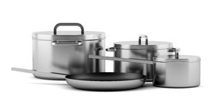 Four cooking pans isolated on white. Background Royalty Free Stock Images