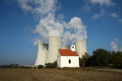 Four cooling towers of nuclear power plant Royalty Free Stock Photo