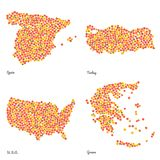 Four Country Maps Made Out Of Pink Peaches. Royalty Free Stock Photos