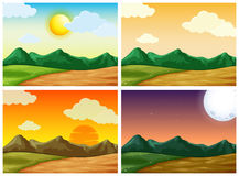 Four countryside scenes at different time of day Stock Photos
