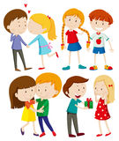 Four couples of people at different ages Royalty Free Stock Images