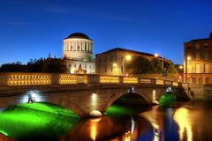 Four courts. River Liffey and Four Courts building in Dublin, Ireland Royalty Free Stock Photography