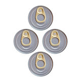 Four cover of canned top view isolated Stock Photos