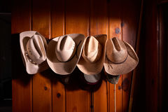 Four cowboy hats hung on wooden wall. Four cowboy hats hung in row on wooden paneled wall Royalty Free Stock Photography