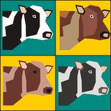 Four bulls poster painting vector. Designs for logo, printing documents stuff, blankets, pillows, pillow cases Royalty Free Stock Photo