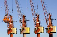 Four cranes in the port Royalty Free Stock Photo