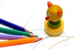 Four crayons Royalty Free Stock Photos