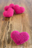 Four crocheted hearts Royalty Free Stock Photography