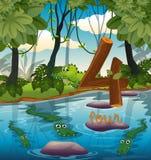 Four crocodile in the pond. Illustration stock illustration