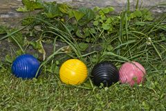 Four Croquet Balls Royalty Free Stock Images