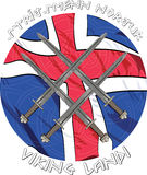 Four crossed Viking's sword on the background of the Icelandic flag and inscriptions runes Stock Images