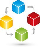 Four cubes and arrows, internet and IT services logo vector illustration