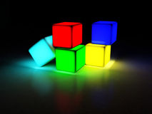 Four cubes. On the dark background, rendering Royalty Free Stock Image