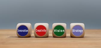 Four cubes with the text `innovation, creativity, vision and strategy`. royalty free stock images
