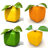 Four Cubic fruits Stock Photo