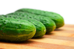 Four cucumbers with pimples on kitchen board Stock Image