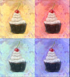 Four  Cupcake with vanilla frosting  cherry on top oil painting Stock Photo