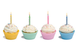 Four Cupcakes With Candle Royalty Free Stock Photo